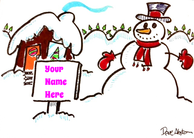 xmas card - house and snowman your name here2