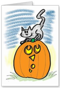 Cat and Pumpkin Greeting Card _ Zazzle