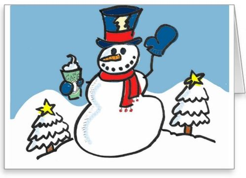 Snowman and Coffee Greeting Card _ Zazzle