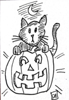 random cartoons halloween cat1