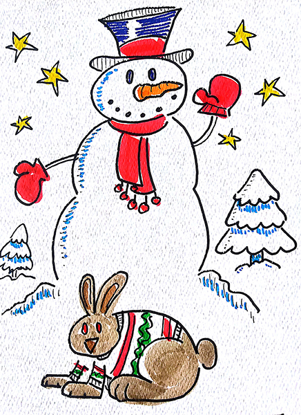 snowman and bunny1
