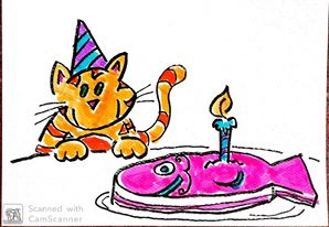 birthday cat fish cake1